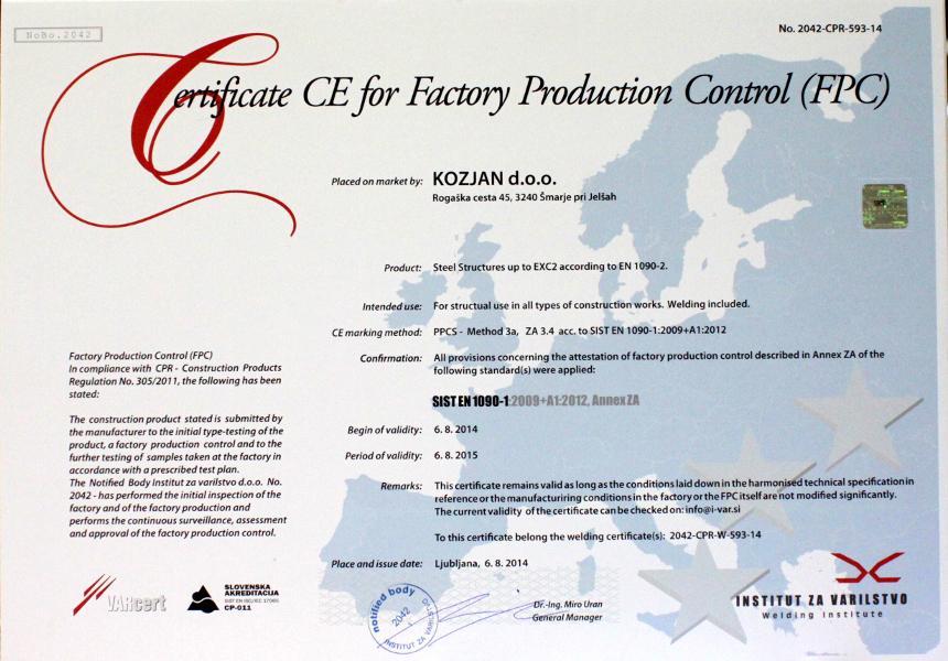 Certifikat SIST_EN_1090-1