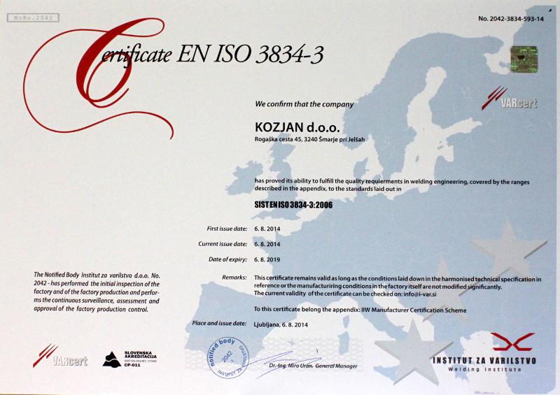 Certifikat SIST_EN_ISO_3834-3